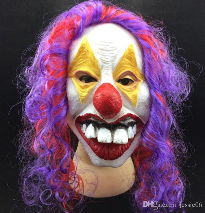 Scary Clown Mask Adult Halloween Evil Killer Fancy Dress Horror Jolly Latex Hair Full Face Masks Party Costume Cosplay Accessory