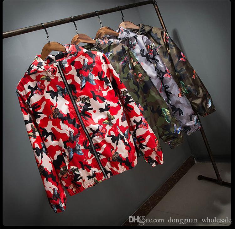 Alta Qualidade Mens Verão Camo Blusão Jaqueta Masculina Fina Camuflagem Blusão Casacos 2017 Primavera Com Capuz Blusão de Borboleta