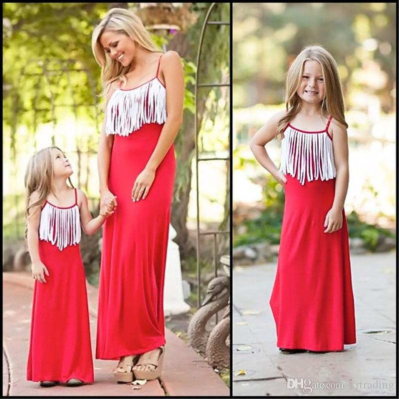 Mother and Daughter white tassels maxi dress fashion simple style tassels slip dress for girls sisters and mothers summer fashion dress
