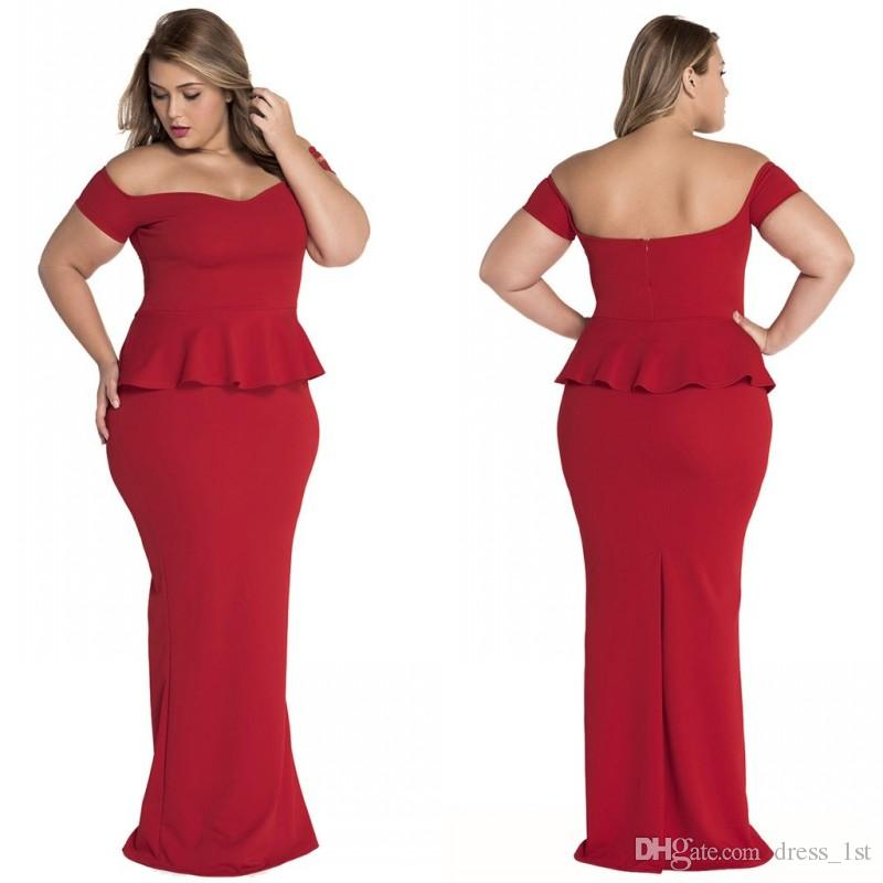 Plus Size Formal Evening Prom Dresses Cheap 2017 Latest Red Spandex Off The  Shoulder Peplum Floor Length Party Gowns Custom Made EN6214