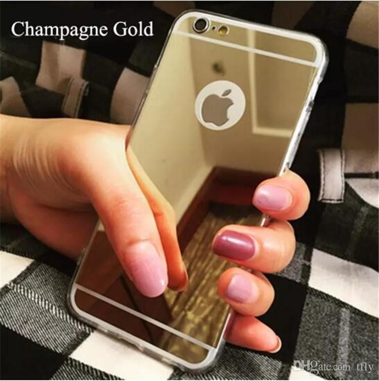 Noël Galvanoplastie Ultra mince Miroir Souple TPU Retour Housse pour iPhone X 8 7 6 6 S 5 plus Samsung S7 bord S8 note 8 Cas de téléphone portable
