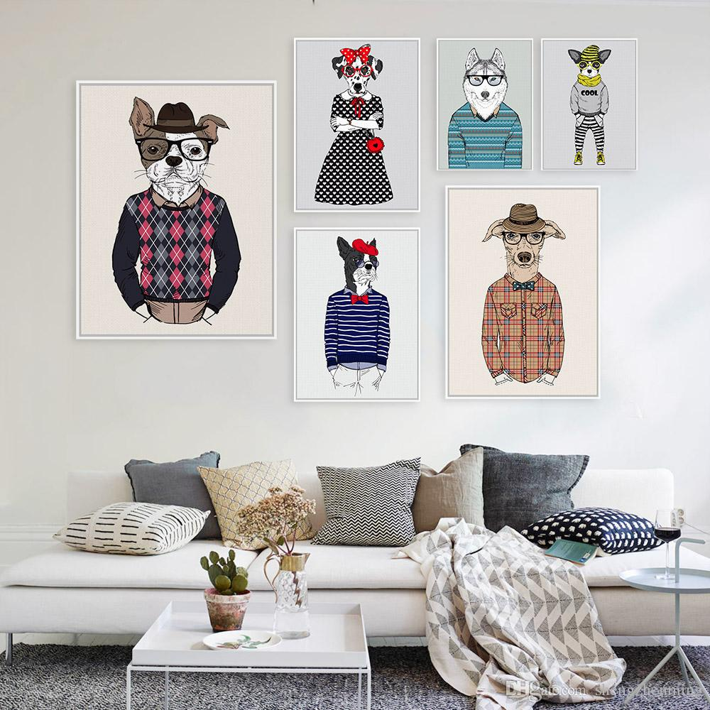 Fashion Wall Art Fascinating 2018 Fashion Animal Doggy Portrait Poster A4 Gentleman Hippie Big Decorating Design