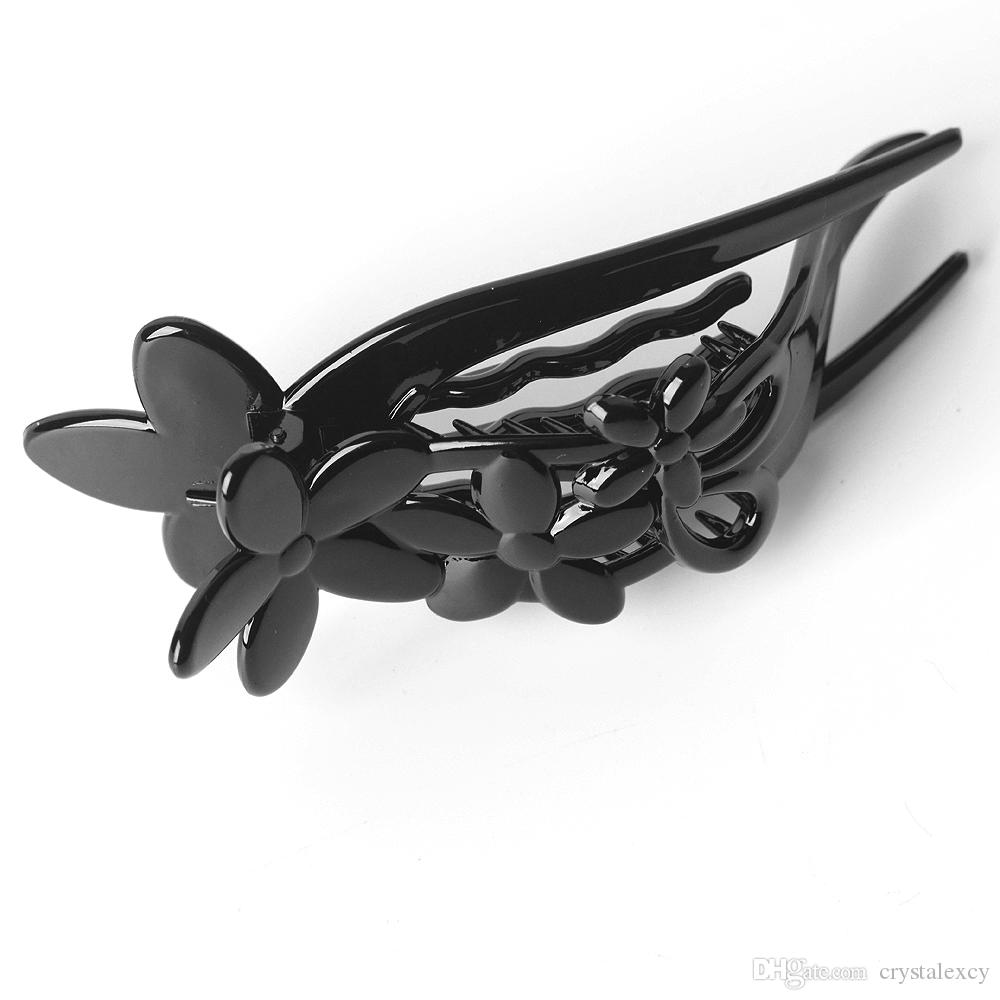 New Fashion Plastic Hair Clip Hairpin duckbill clips black plastic flower headwear for lady women hairpieces