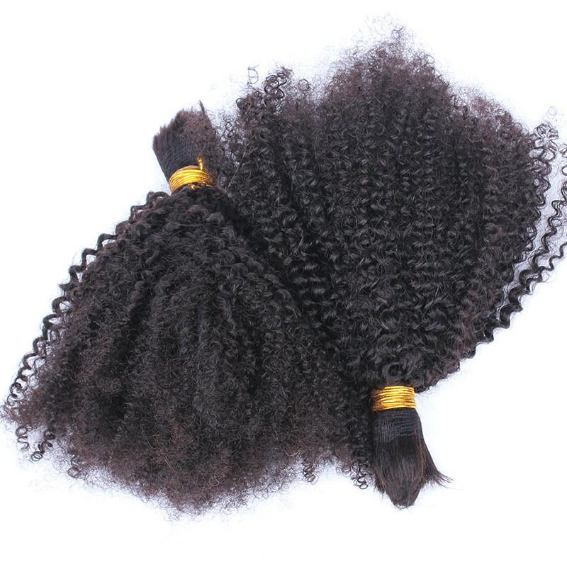 Mongolian Afro Kinky Curly Human Hair Bulk For Braiding Kinky Curly Hair Bulk Extensions Natural Color 12-30 inch