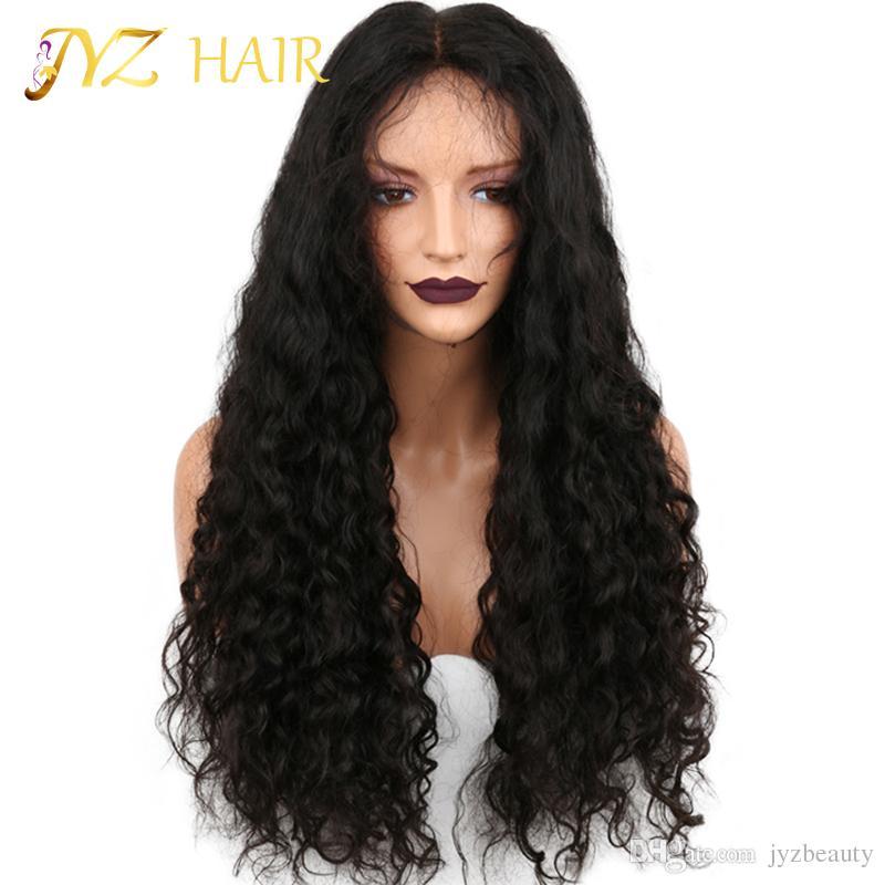 Jyz Glueless полный кружевной парик бразильской глубокой волны полные кружева человеческие волосы парики для черных женщин лучшие кружевные фронт с волосами