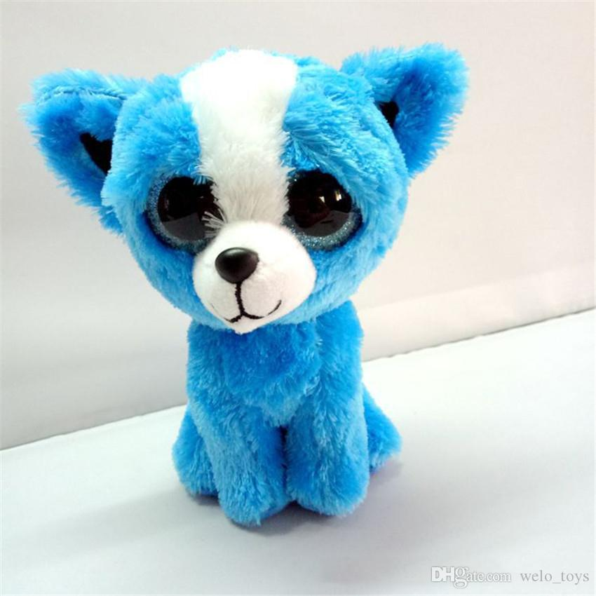 Ty Beanie Boos 큰 눈 kawaii 박제 동물 작은 물개 봉제 장난감 펭귄 강아지 고양이 팬더 마우스 인형 어린이 장난감 크리스마스 선물