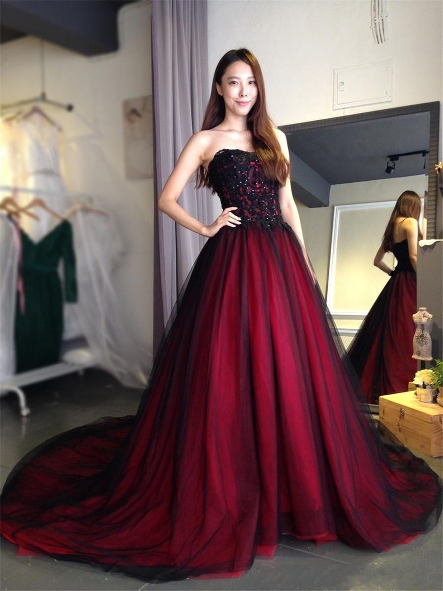 2018 New Gothic wedding dress with Color Sweetheart Lace Up Back Floor Length Long Black Burgundy robe de soiree vestido longo de festa 424