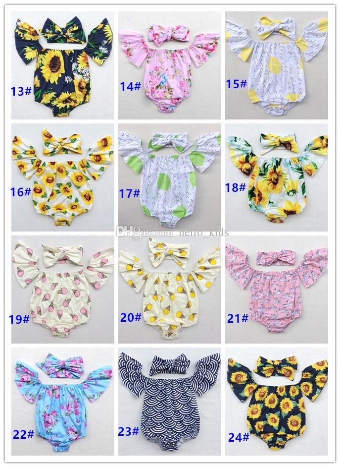 2017 Belle Enfant Vêtements Pour Bébés Bébés Filles Floral À Volants Papillon Manches Tops Chemise Coton Outfits Top + Bandeau Ensembles Photographie Prop