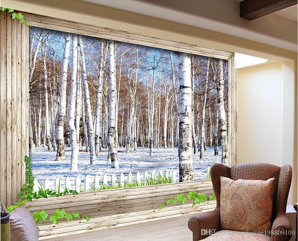 new custom beautiful 3d snow birch forest tv wall mural 3d see larger image