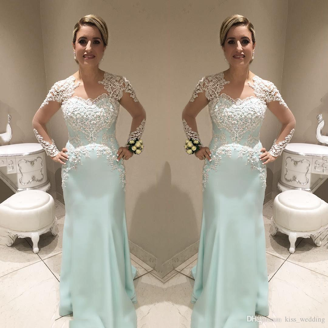 Beautiful Light Blue Mermaid Long Prom Dresses Lace Sheer Sleeves Evening Graduation Gown Open Back Covered Buttons Vestidos de fiesta