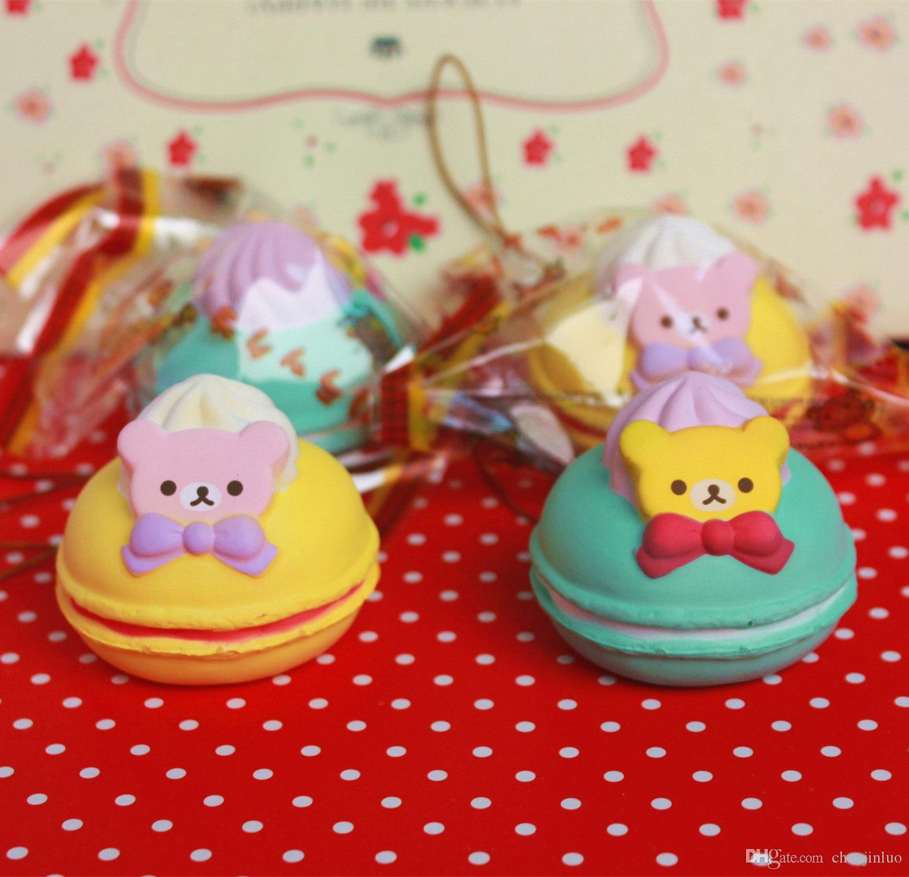 Advertising Free Shipping 5cm Original Kawaii Squishy Rilakkuma Macaron Cake Queeze Toys Cell Phone Handbags Straps Squishies Bread
