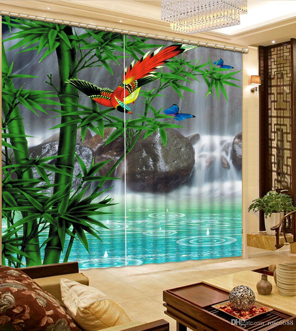 Großhandel Fashion 3d Home Decor Schöne Fenster Vorhang Wohnzimmer  Wasserfall Landschaft Bambus Vorhänge Für Wohnzimmer Von Rose6688, $199.4  Auf De.Dhgate.