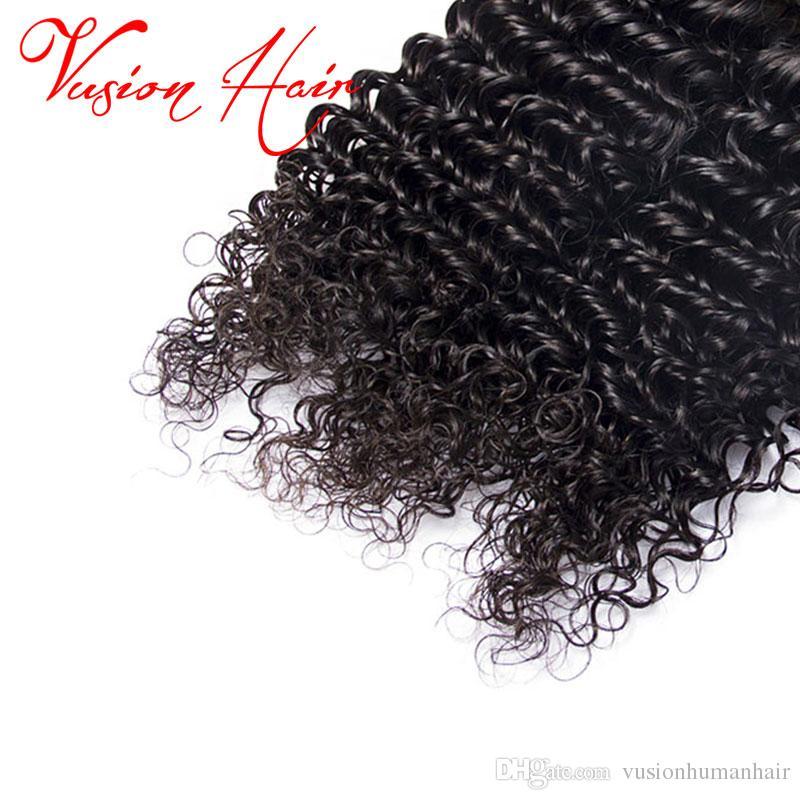 Brezilyalı Derin Dalga Kıvırcık Saç 3 Paketler ve Kapatma 10-26 Inç İnsan Saç Paketler Vizon Brezilya Saç Örgü Ile Kapatma Doğal Siyah