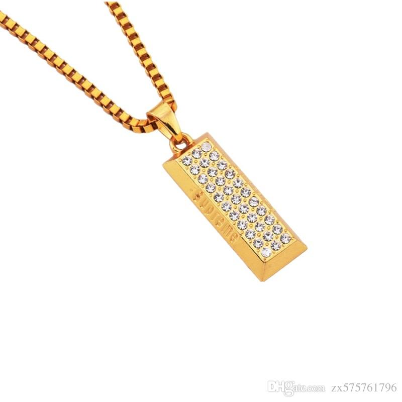 Wholesale fashion men hip hop bullion pendant necklace full wholesale fashion men hip hop bullion pendant necklace full rhinestone design jewelry men 18k gold plated 75cm long chain best friend gift aquamarine aloadofball Gallery