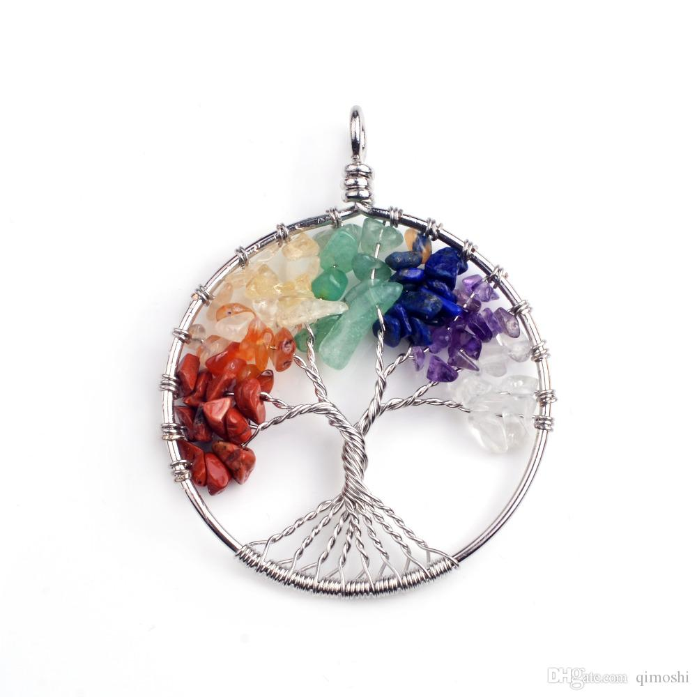 Fashion classic old pendant necklace gem tree 7 chakra stone beads tree of life for men and women gift for Mother's day gift