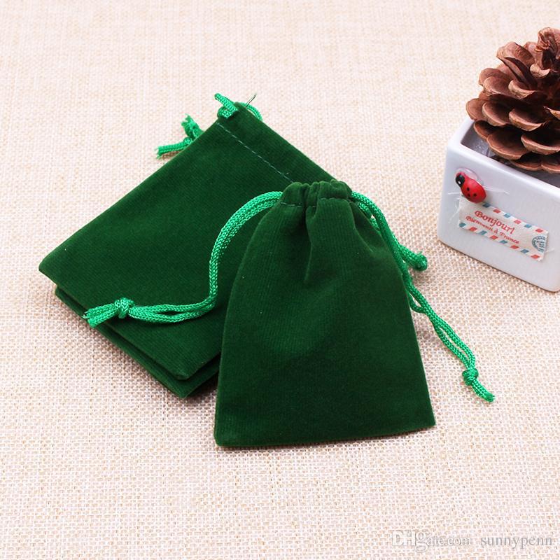 / di alta qualità verde pianura di velluto regalo borse gioielli orecchini bracciale collana display borse di stoccaggio e imballaggio 9cm * 12cm disegnabile