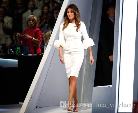 1e4ac4e2b178 Melania Trump Little White Dresses Sheath Crew Neckline Pleated With Baloon  Sleeves And Back Split Knee Length Celebrity Party Gowns Classic Dresses ...