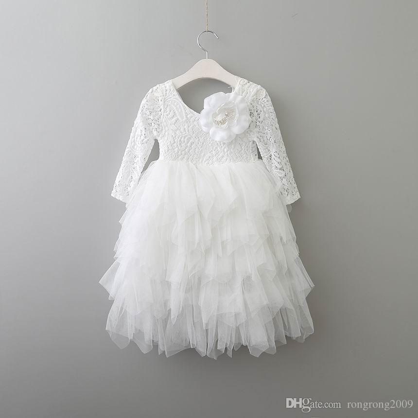 Retail New Girls Lace Dress Flower Tiered Tulle Maxi Dress Long Sleeve Princess For Wedding Party Children Clothes 1-10Y E17104