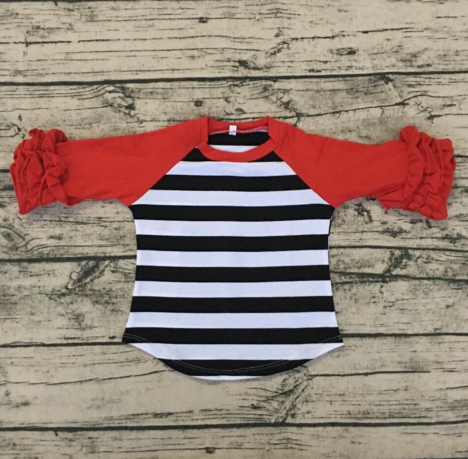 Kids Clothing Wholesale New Cotton Toddler Baby Clothes Icing Raglan Shirt Beautiful Green Stripe Long Sleeve Shirt