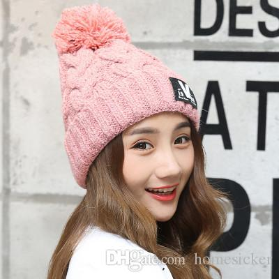 181d5cbf37e The New Tide Hat Add Wool Warm Letter Labeling Qiu Dong Knitting Hat  Thickening Bonnet Fashion Hair Bulb Knitted Cap Baby Boy Hats Black  Baseball Cap From ...