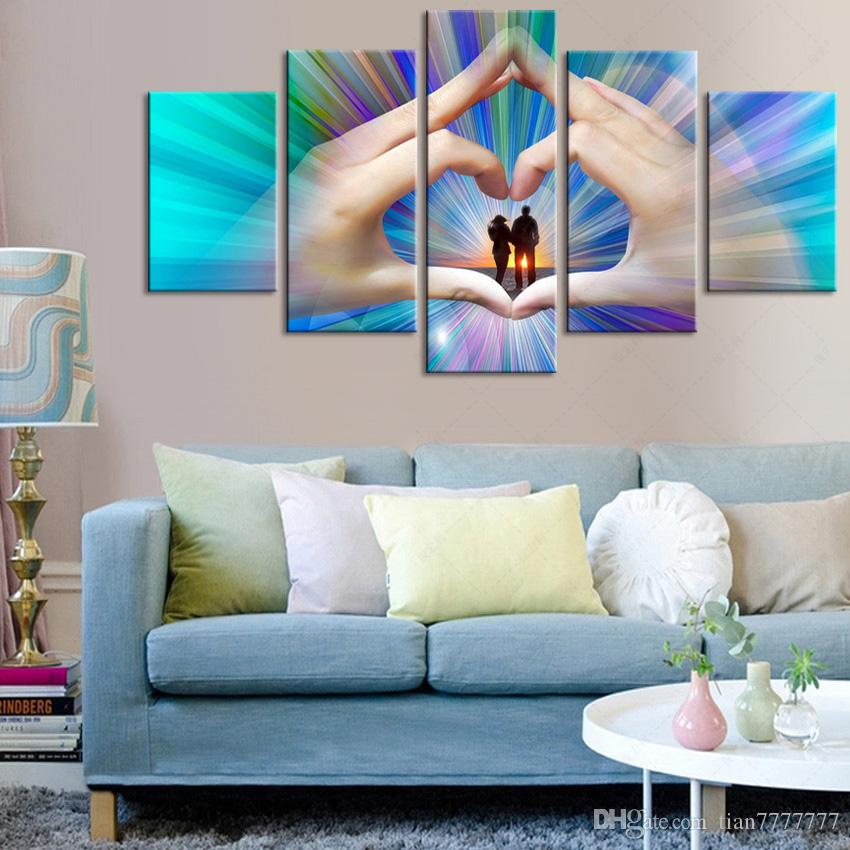 2018 5 panel couple love modern paintings wall murals for Price for painting a room