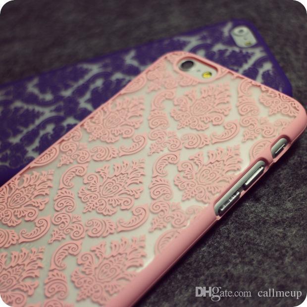 Phone Case For iphone 6 Plus iPhone 6 Plus Hollow Out Lace Paper Cut Vintage Flower Pattern Fashion Luxury Back Cover Coque iphone7