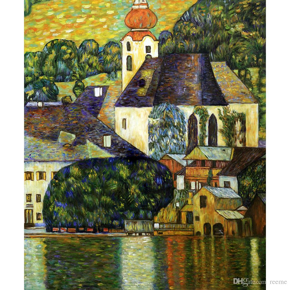Gustav Klimt Garden Paintings Oil Canvas Reproduction Church In