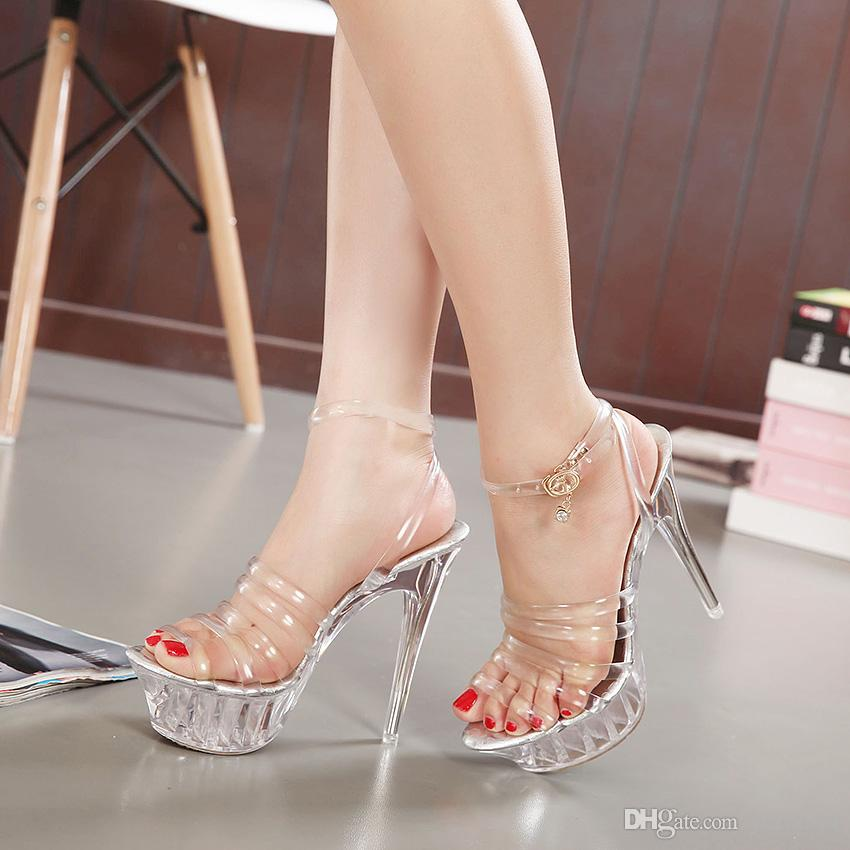 0c57cab4f84d8 Women 14cm High Heel Sandals Sexy Crystal Transparent Shoes Fish Head High  Platform Women Stilettos Large Size Comfortable Wedding Party Ladies Sandals  ...