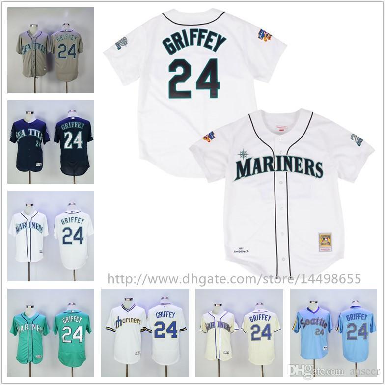 28f09502e ... Replica CB Jersey 2017 Mens Seattle Mariners Jerseys Mlb 24 Ken Griffey  Jerseys Majestic Blue Cooperstown Aqua Cream White ...