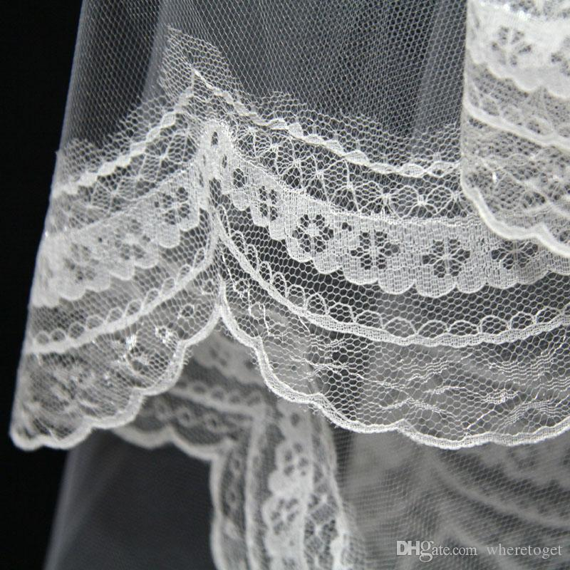 2020 أرخص في المخزون 1.5 متر طول الحجاب الزفاف يزين العاج الأبيض اثنان طبقة الرباط الزفاف اكسسوارات الزفاف الحجاب أنماط 11043