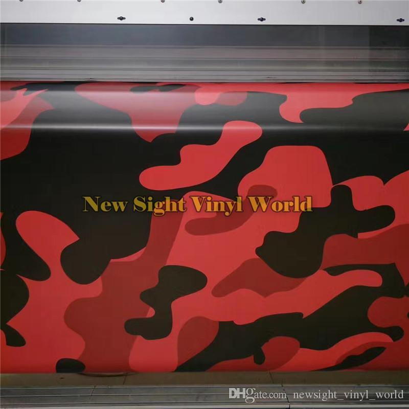 Jumbo Elite Black Red Camouflage Vinyl Wrap Film Rosso Camo Car Wrap Vinyl Bubble Free gli involucri auto