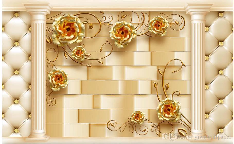 Golden Rose Roman pacote coluna macio TV 3D cabeceira papel de parede para paredes 3 d para sala de estar