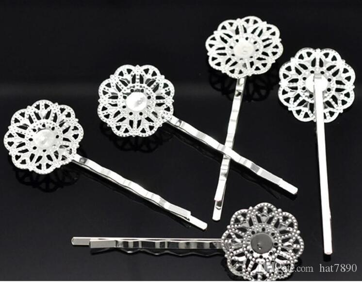women's fashion silver plated hollow six petal flower hair cilps Jewelry accessories side clip hair jewelry 2 design drop shipping