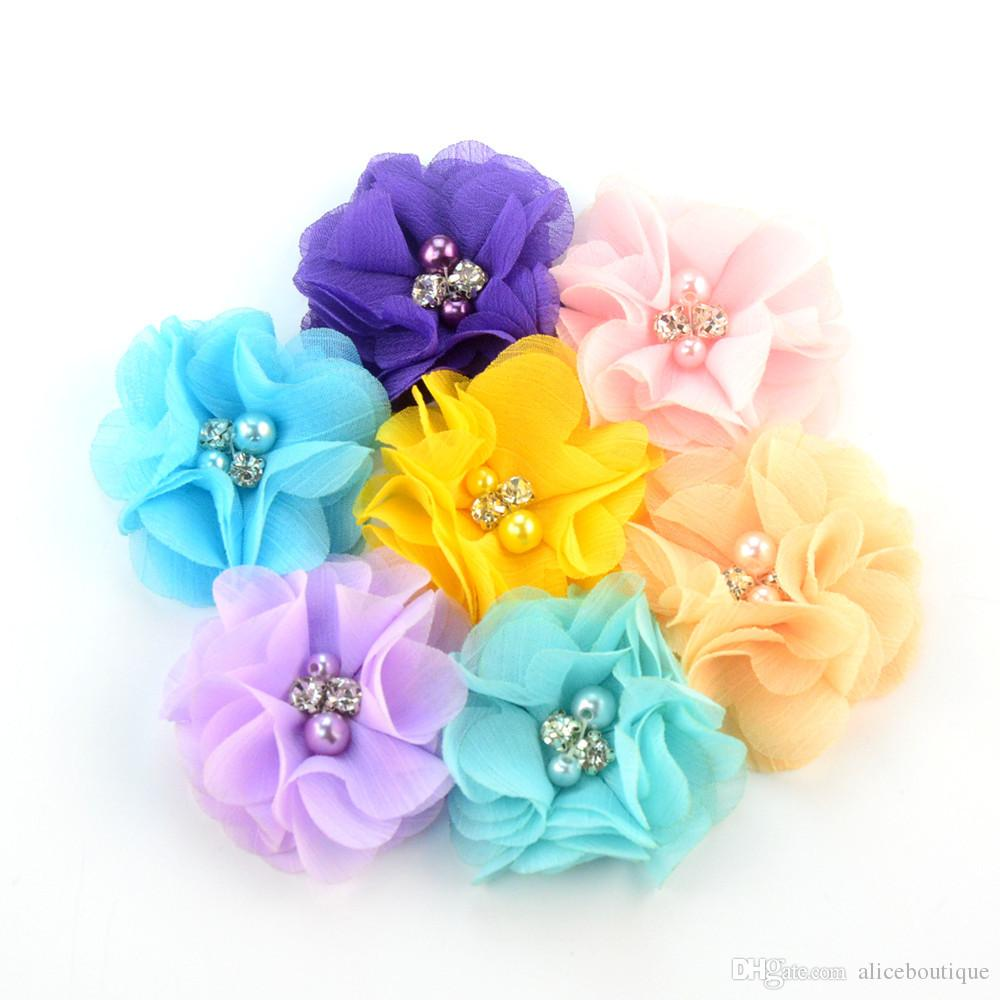 trasporto / i 2.36inch simpatici fiori di chiffon con strass perla senza clip fasce delle ragazze accessori capelli H005
