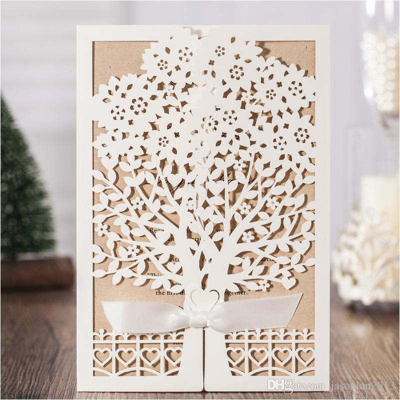 wedding invitations cards 2017 love tree ivory laser cut wed party invitation with bow greeting card for birthday party favors carlson wedding invitations - Laser Cut Tree Wedding Invitations