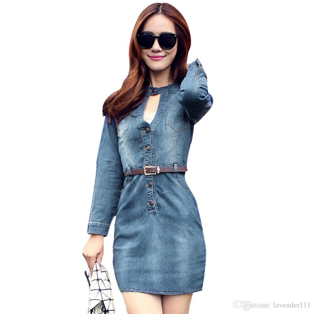 68292eeded Denim Dress Spring Autumn V Neck Long Sleeve Bodycon Dresses Elegant Ladies  Fashion Sexy Jeans Casual Vestido Femininos Online with  40.42 Piece on ...