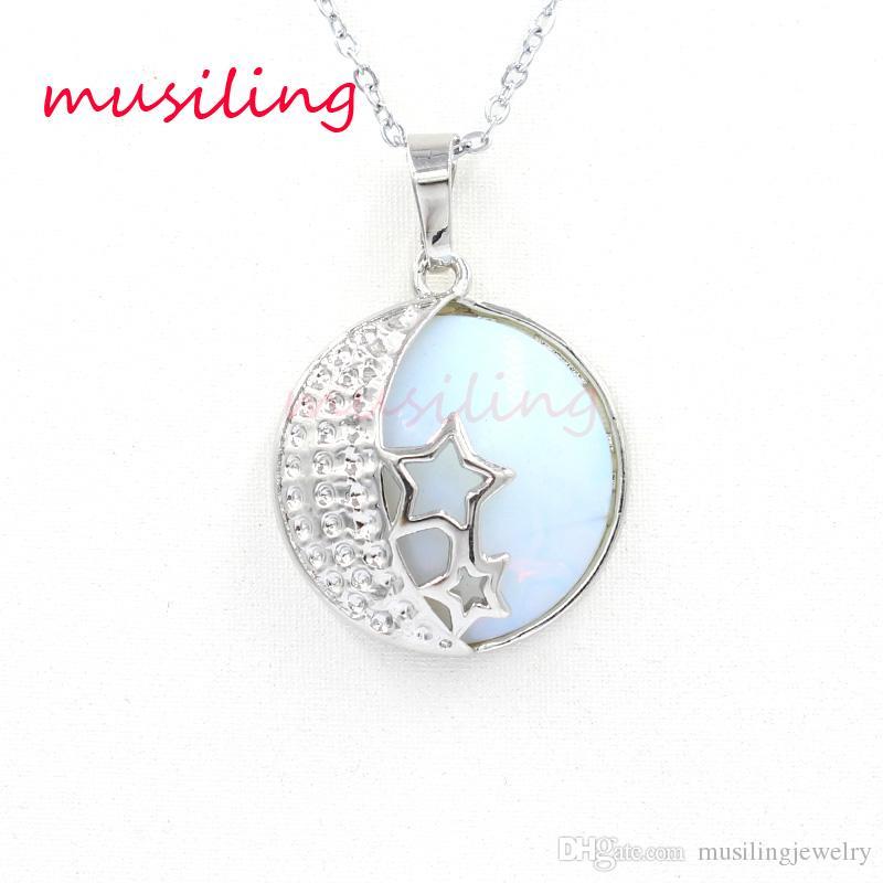 Yıldız Hilal Kolye Kolye Zinciri Gümüş Kaplama Doğal Taş Ametist Kristal vb Reiki Takılar Aksesuarları Moda Takı Kadınlar Için