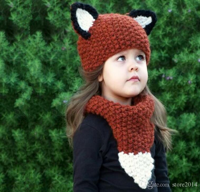 Enfants Fox Oreille Hiver Coupe-Vent Mignon Chapeau Bébé Tricoté Chapeaux et écharpe Ensemble Pour Enfants Garçons Filles Shapka Caps