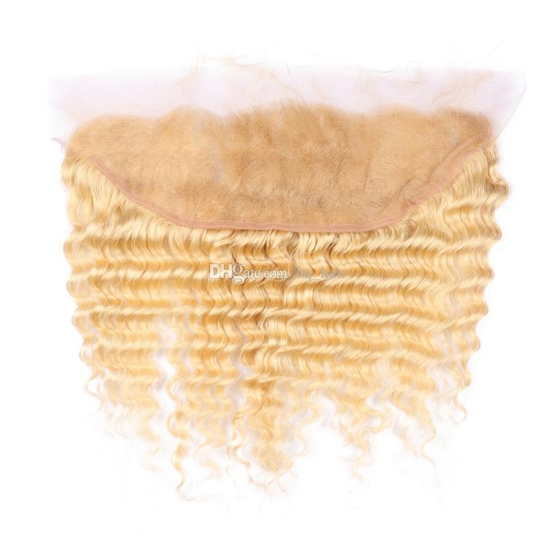Top Sale 9A # 613 rubia rusa onda profunda virgen del pelo humano 3 lotes con medio libre 3 parte 13x4 '' pieza de cierre frontal de encaje
