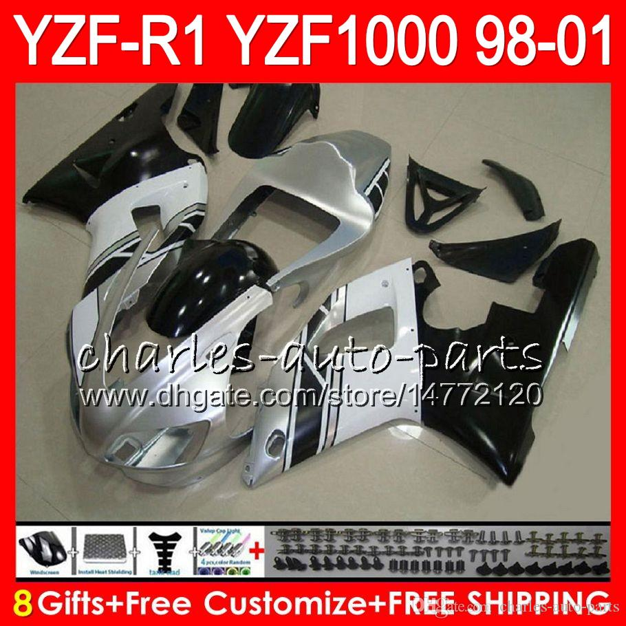 8Gift Body YAMAHA YZF 1000 R 1 YZFR1 98 99 00 01 61HM16 Argento nero YZF1000 YZF R1 YZF-R1000 YZF-R1 1998 1999 2000 2001 Carena