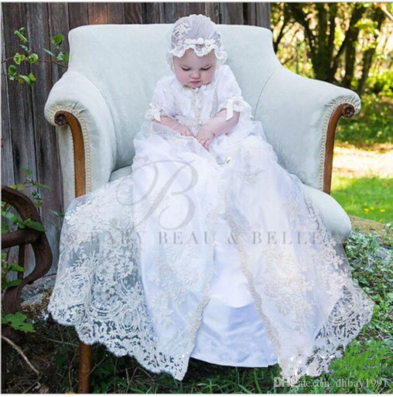 f0743fd656402 Lolita White Ivory Christening Gown Baby Boys Girls Baptism Dress Lace  Applique With Bonnet Any Size