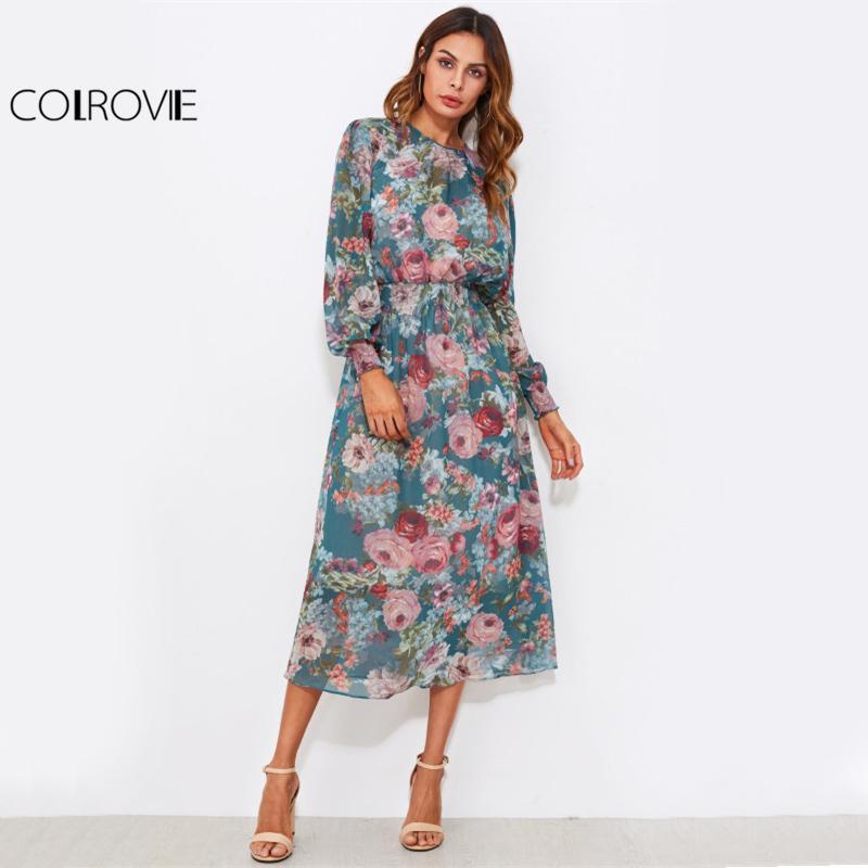 Compre COLROVIE Floral Gasa Cintura Gasa Vestido Con Forro Vestidos ...