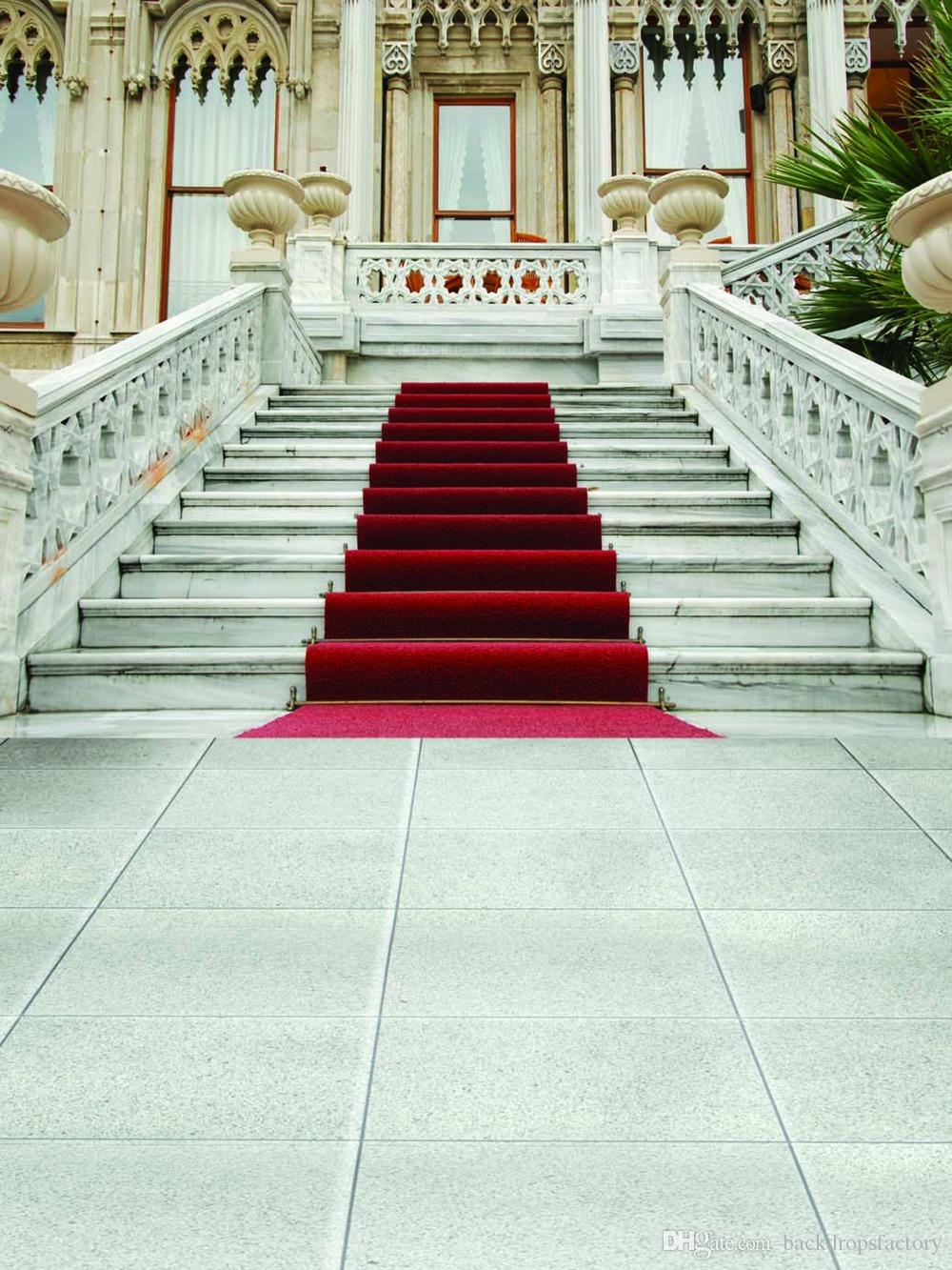 Vintage Castle Red Carpet Staircase Backdrop Photography
