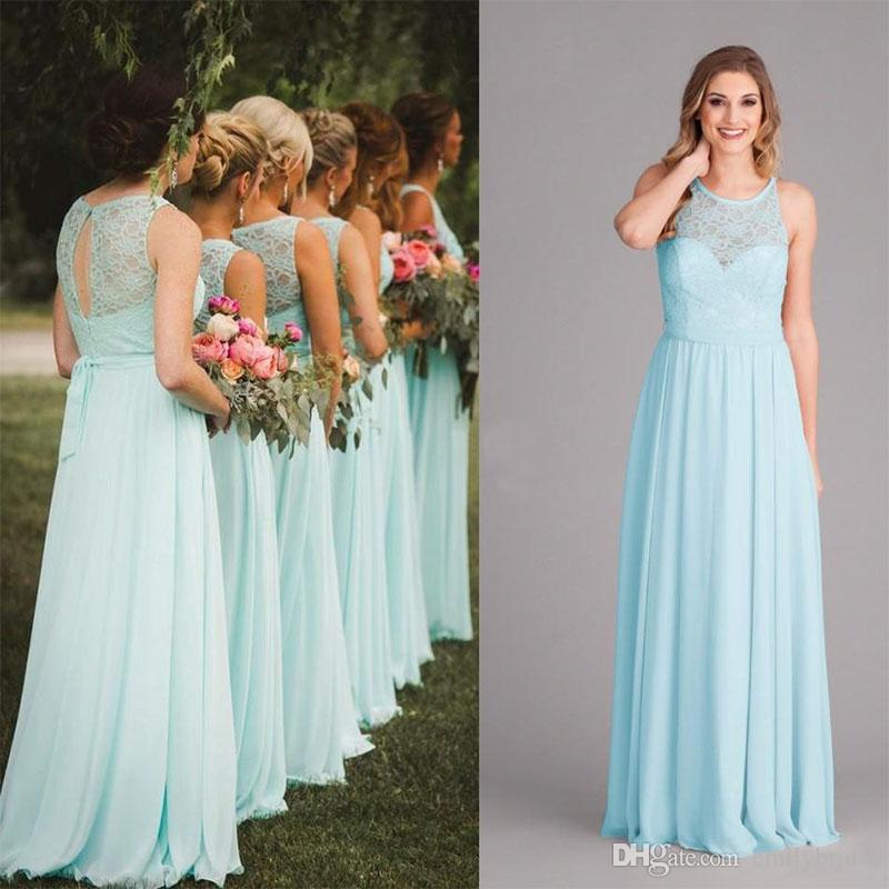 New Arrival 2018 Mint Green Long Bridesmaid Dresses Chic Lace Top ...
