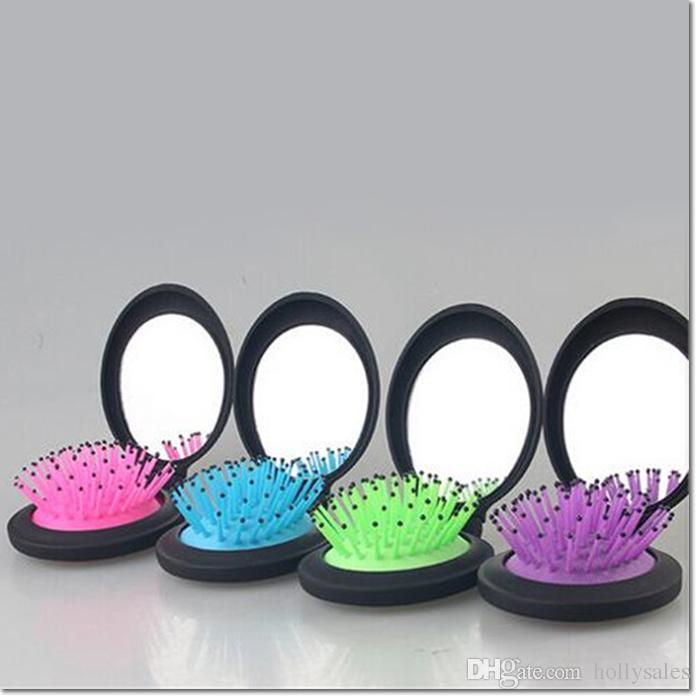 2016 neue design portable reise haar pinsel antistatische haar pinsel magic make-up kit kamm mit spiegel für frauen mädchen bunte für wählen