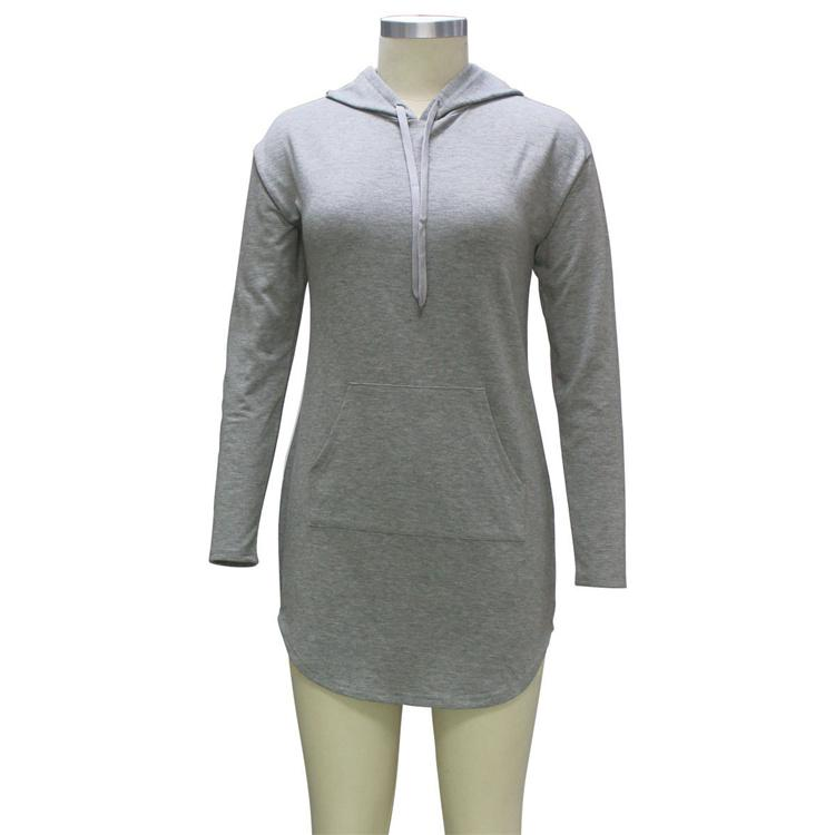 Women Spring Autumn Gray Long Hoodie Dress Long Sleeve Pockets Casual Loose Hooded Sweatshirts Pullovers Sudaderas Mujer DHL 171008
