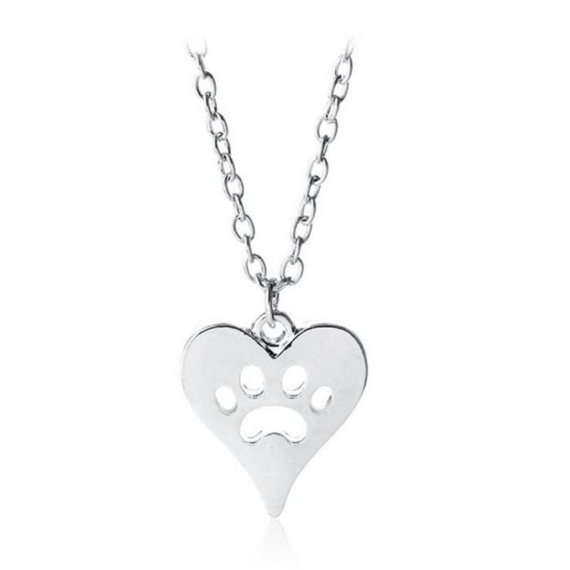 Fashion Necklaces Dog Paw Pendant Necklaces Hollow Out Heart Necklace For Women Necklaces Jewelry Gift