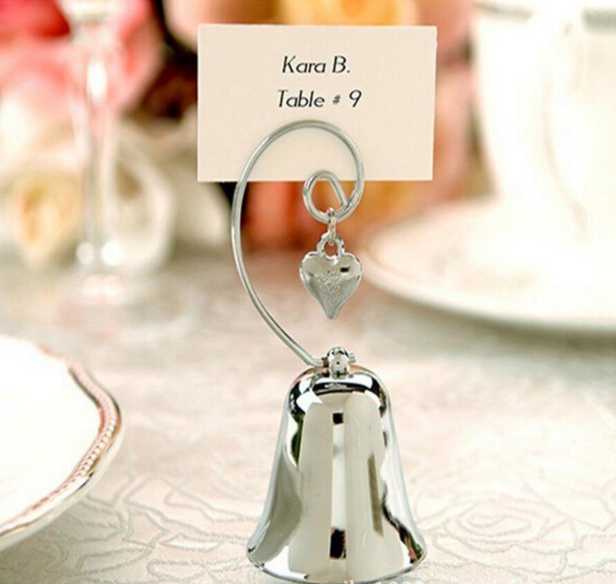 campana d'argento cuore nome numero menu tabella segnaposto porta clip matrimonio baby shower favore ricevimento ricevimento