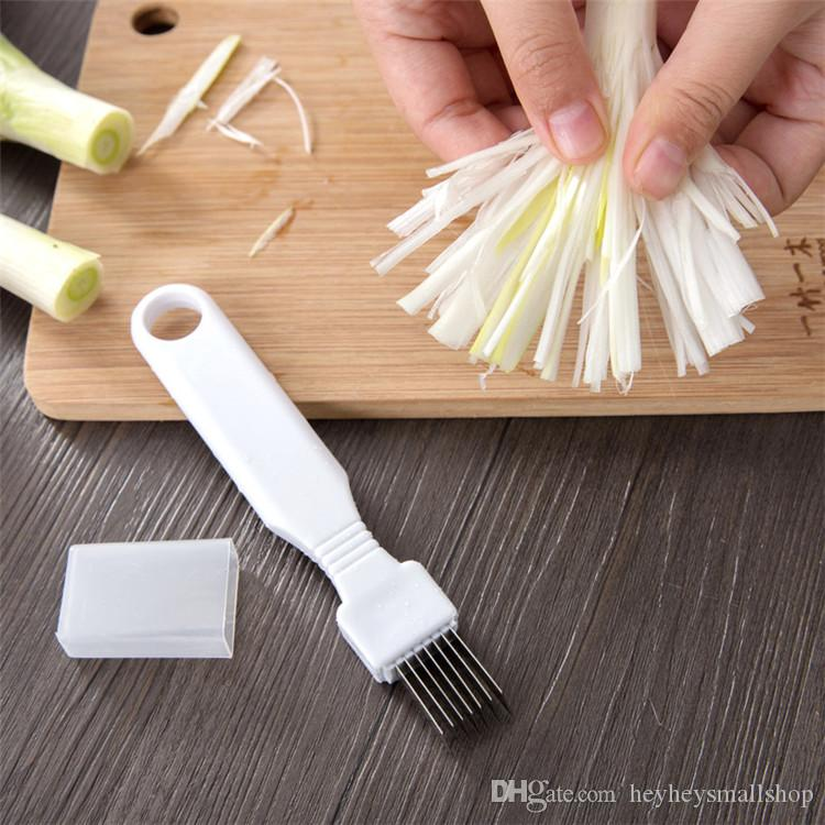 Fácil de usar cozinha cortador de cebola verde, manual de aço inoxidável Shallot Shredder com cabo de plástico, cortador de tomate de cebola fatiador de vegetais