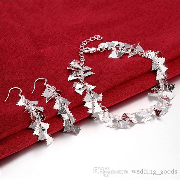 best gift snowflake silver plated jewelry sets for women WS803,nice 925 silver necklace bracelet earring ring set